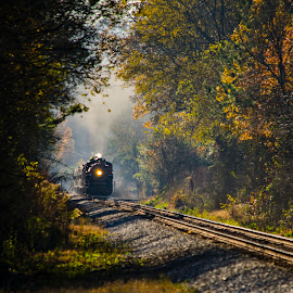 Country Journey by Bokeh Phototography - Transportation Trains ( chris ellis, southern, engine, autumn, fall, train, nikon d7000, 630, photography, steam )