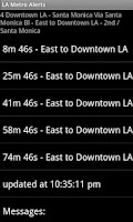 Screenshot of LA Metro Alerts