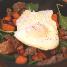 Roasted Sweet Potato and Spinach Breakfast Hash
