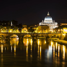 Rome reflection by Ivano Mancino - City,  Street & Park  Night ( reflection, night photography, st. peter's basilica, rome, pentax, tiber, nightscape, Urban, City, Lifestyle,  )