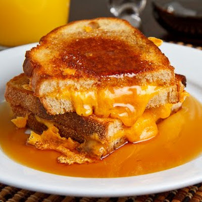 Breakfast Grilled Cheese Sandwich with Maple Syrup