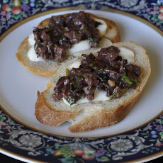 Burrata and Olive Tapenade Crostinis