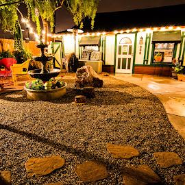 Rainy Night Coffee by Mark Franks - City,  Street & Park  Markets & Shops ( gilbert, wide angle, coffee, arizona, night, night shot, light, downtown )