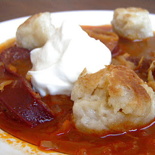 Sausage and Sauerkraut Stew with Duck Fat Dumplings