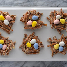 White Chocolate-Pretzel Easter Egg Nests