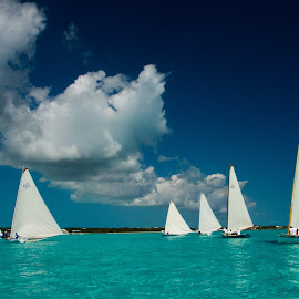 Exuma Regatta - 9662 by John Covin - Transportation Boats ( clouds, water, sailboats, exuma,  )
