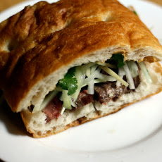 Dinner Tonight: Steak Sandwich with Cucumber, Ginger Salad, and Black Chile Mayonnaise