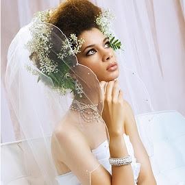 Waiting Bride by Hannah Cohen - Wedding Bride ( african american, waiting, wedding, beautiful, white, veil, bride, Wedding, Weddings, Marriage )