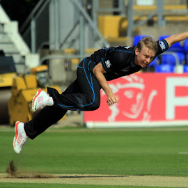 Airbourne by John Davies - Sports & Fitness Cricket ( new zealand 'a', john davies, cricket, swalec stadium, sri lanks 'a', cardiff )