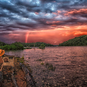 Abandoned Fishing Chair by Michael Buffington - Landscapes Waterscapes ( clouds, water, unusual, landscape, rainbow, Chair, Chairs, Sitting, , Earth, Light, Landscapes, Views )