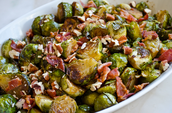 Roasted Brussels Sprouts with Bacon, Pecans & Maple Syrup Recipe ...