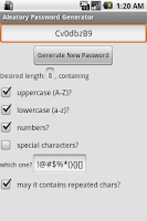 Screenshot of Aleatory Password Generator