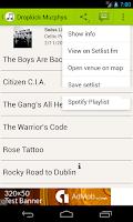 Screenshot of Concert Setlists