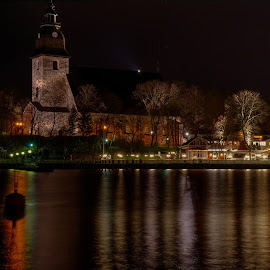 Calm before the storm by Lasbi Naboj - City,  Street & Park  Vistas ( naantali, church, vista, finland, night, architecture, neighbourhood, city )