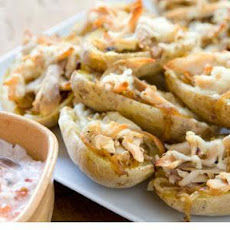 Stuffed Potato Skins with Roasted Chicken, Onions and Sour Cream