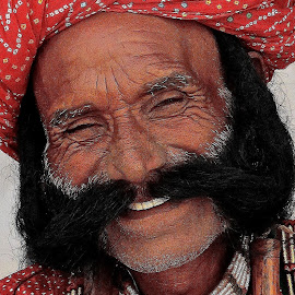 PORTRAIT OF SMILING RAJASTHANI MAN by Doug Hilson - People Portraits of Men ( face, colorful, turban, close up, mustache, rajasthani, man, portrait )