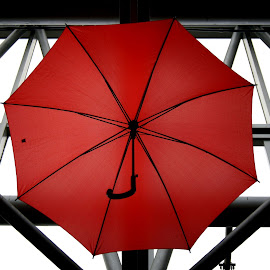 Red umbrella by Anita Berghoef - Artistic Objects Other Objects ( train station, red, ceiling, umbrella, glass, red umbrella, architecture, tubes, black )