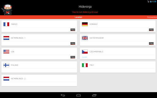 Screenshot #2 of VPN Hideninja / Android