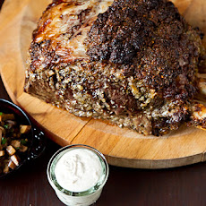Roasted Prime Rib with Sauteed Mushrooms and Mom's Creamy Horseradish Sauce