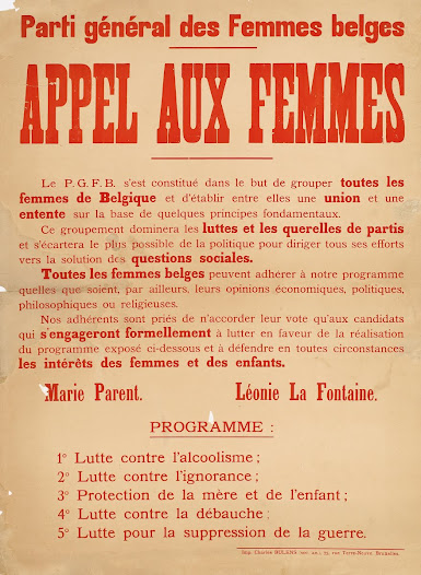"""""""Call to women"""", poster issued by the General Party of Belgian Women (created at the initiative of the Belgian League for Women's Rights), signed by Marie Parent and Léonie La Fontaine, 1921"""