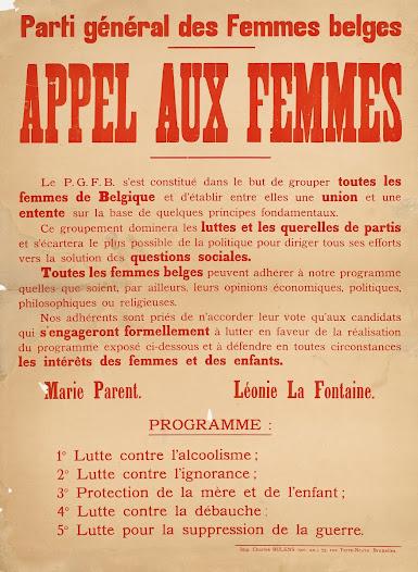 """Parti Général des Femmes Belges: """"Call to Women"""" - 1921"""