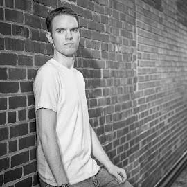 Model by Brent Gudenschwager - People Portraits of Men ( model, black and white, man, portrait, alley )