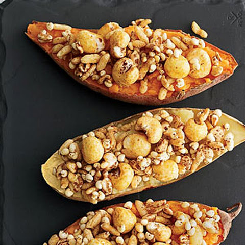 Sweet Potatoes with Curried Puffed Grains