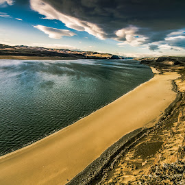 Columbia River Vantage Beach by Bob Juarez - Landscapes Beaches ( clouds, sandy, rock formation, beach, river )