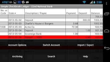 Screenshot of Simple Checkbook Ledger