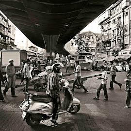 Moving life. by Varun Joel - City,  Street & Park  Street Scenes ( market, black and white, street, cityscape, street scenes )