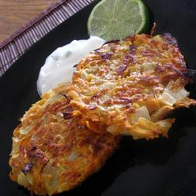 Sweet Potato Pancakes with Lime Cilantro Yogurt Sauce