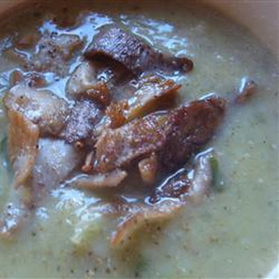Sunchoke (Jerusalem Artichoke) and Leek Soup with Mushrooms
