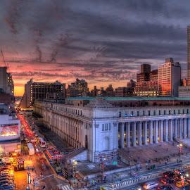 James A. Farley Post Office by Edwin Marzan - Buildings & Architecture Office Buildings & Hotels ( post office, usps, 31st street & eighth ave, postal sunset, james a farley )