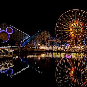 California Adventure by Ed & Cindy Esposito - City,  Street & Park  Amusement Parks ( mickey mouse, amusement park, california, reflections, ferris wheel )