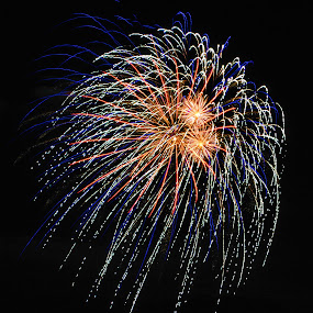 Fireworks by Karen Hardman - Public Holidays July 4th ( , blue, orange. color )
