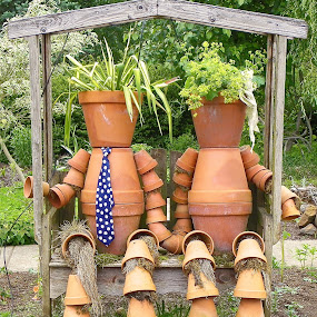 Mr. & Mrs. Potts by Ed Hanson - Artistic Objects Other Objects ( unique, potts, brown, planters, flowers )
