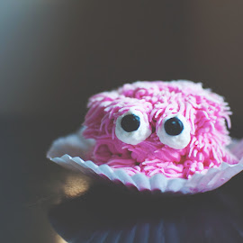 by Rachel Plowman - Digital Art Things ( cupcake frosting eyes pink yummy )