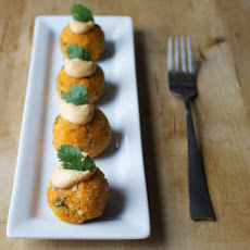 "Sweet Potato Balls With Smoky Cashew ""aioli"""