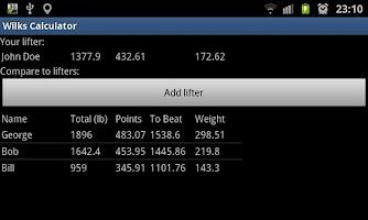 Screenshot of Wilks Calculator