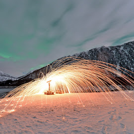 Spinning steelwool by Marius Birkeland - Abstract Light Painting ( clouds, spinning, steel wool, aurora, steelwool )