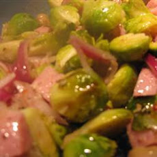 Baked Brussels and ham