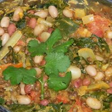 Spinach, Red Lentil, and Bean Curry