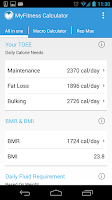 Screenshot of MyFitness Calculator BMI IIFYM