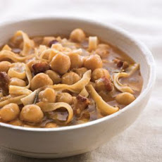 Tagliatelle and Chickpea Soup with Pancetta