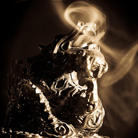 Dragon by Dorin Crisan - Artistic Objects Furniture ( dragon, smoke, cigarettes, people )