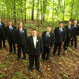 A Groom and his men by Carrie Bonventre - Wedding Groups ( groomsmen, wedding, men, guys, groom, Wedding, Weddings, Marriage )