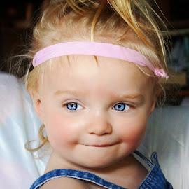 Smirk by Cheryl Korotky - Babies & Children Child Portraits ( child model peyton, a heartbeat in time photography, amazing faces, blue eyes, portrati, beautiful children )