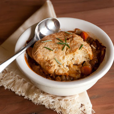 Lentil and Potato Pot Pies with Rosemary Biscuits