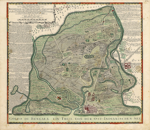 Matthäus Seutter <b>Tharangambadi, Tamil Nadu</b> Circa 1740 Copper engraving with original hand colour, 53.3 x 63.3 cm.  A highly detailed early 18th Century map of the Danish enclave of Tranquebar, on the Coromandel Coast, based on mapping done by German Lutheran missionaries.   This fine map depicts the environs of Tranquebar, a Danish enclave located along the coast of the Tanjore region, based on drafts made by German Lutheran missionaries during the early 18th Century.