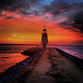 Winter sunsets at Lake Hefner by Stephanie Hampton - Landscapes Sunsets & Sunrises ( clouds, okc, water, oklahoma, colors, myoklahoma, lighthouse, lake, pretty, lighthouse_captures, sky, news_ok, sunset, lakehefner, nikond3200, follow,  )